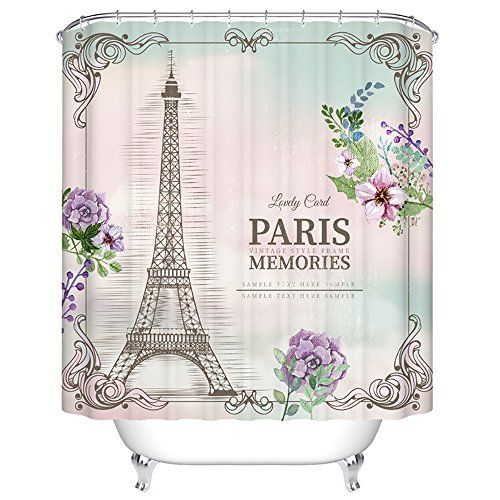 ChezMax Paris Memories Eiffel Tower Waterproof Bathroom Fabric Shower  Curtain With 12 Hooks 72 W X