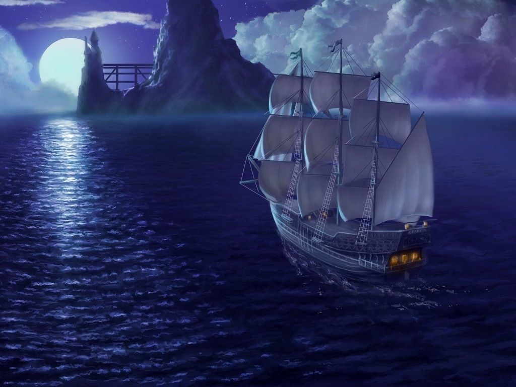 Fantasy ship cliff jolly roger pirate ship rock lightning wallpaper - Other Night Sailing Ocean Moon Boat Hd Wallpapers Other For Hd Pirate Ships