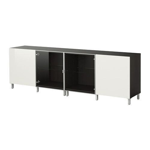 BESTÅ Storage combination with doors - black-brown/high gloss white - IKEA