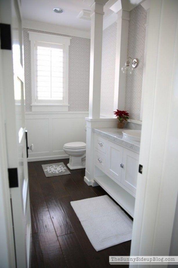 Small Bathroom Ideas Dark Floor In 2020 White Bathroom Cabinets Wood Floor Bathroom Dark Floor Bathroom