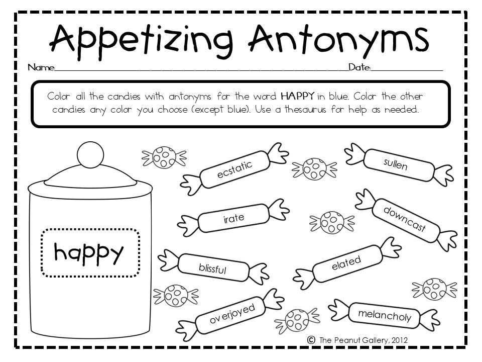 Antonyms Synonyms And Antonyms Antonyms Phonics Reading Antonyms worksheet 2nd grade