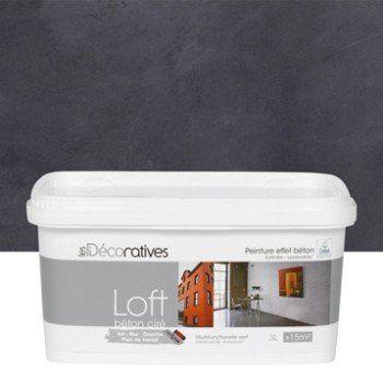 Peinture effet loft b ton cir les decoratives noir carbone 3 l leroy - Les decoratives com loft beton cire ...