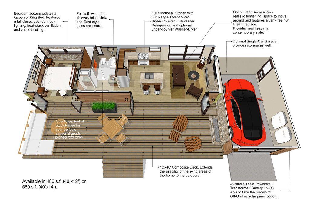 Modern Style House Plan 1 Beds 1 Baths 480 Sq Ft Plan 484 4 Modern Style House Plans Contemporary House Plans Accessory Dwelling Unit