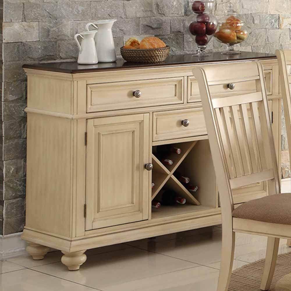 Dining Display Storage Buffet Server Wine Rack Drawer Cabinet Wood Antique  Cream