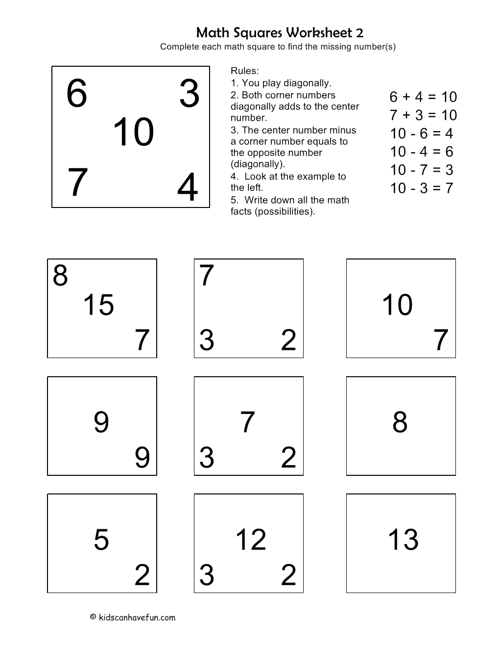 Math Squares Worksheet. Complete each math square to find the ...