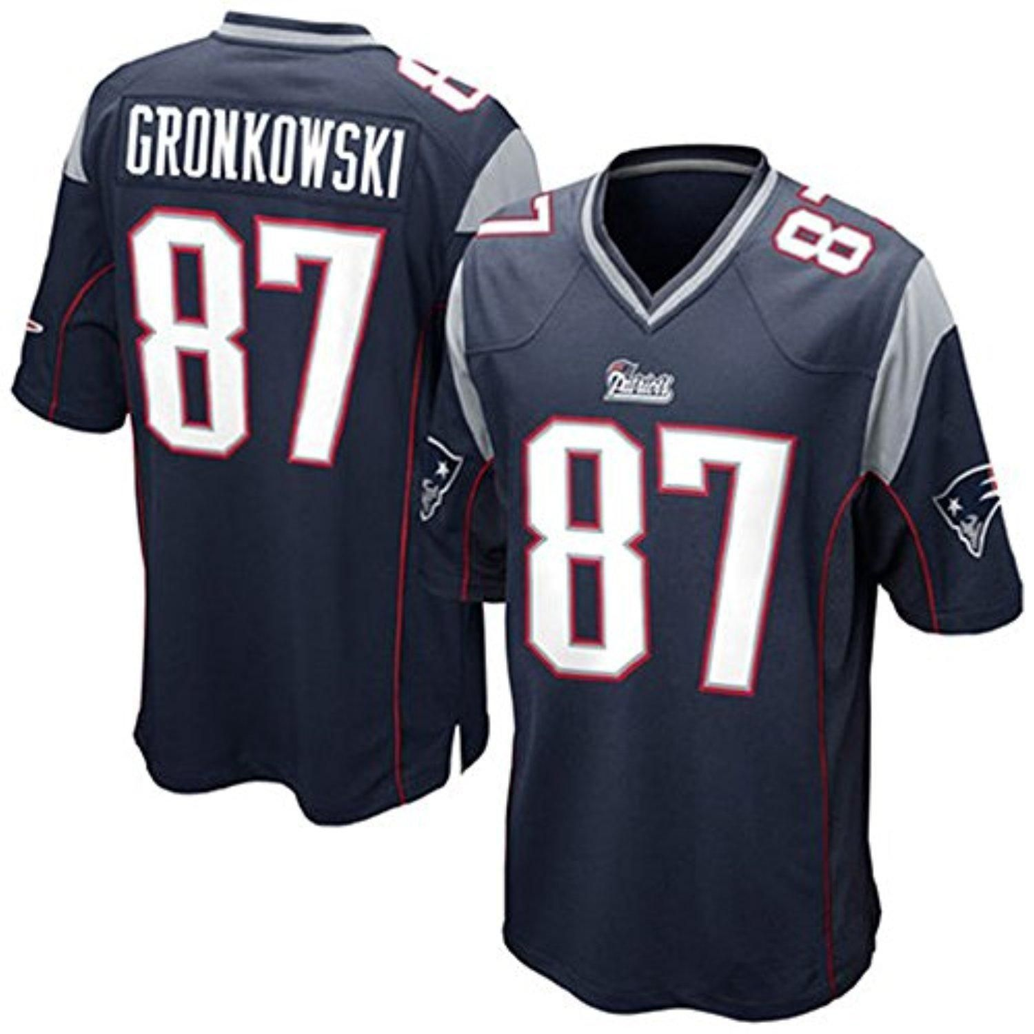 Bakeuouilin Boys Player Fashion Football Jersey New England Patriots 87 Rob Gronkowski Black Navy New England Patriots Game Jersey Patriots Tom Brady Jersey