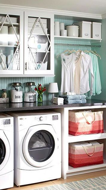 Create Tons Of Storage In Your Laundry Room With These Great Cabinet Ideas.  These Cabinets Will Make Your Laundry Room Look Stylish, Clean, And  Organized.