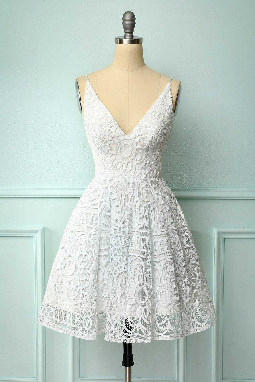 White Spaghetti Straps Homecoming Lace White Dress Homecoming Dresses Short White Lace Dress Short [ 1500 x 1000 Pixel ]