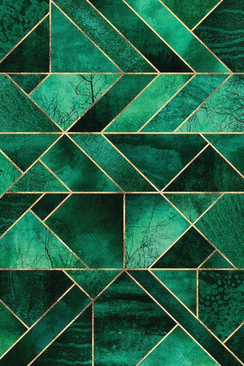 Abstract Nature – Emerald Green Canvas… | Elisabeth Fredriksson | iCanvas