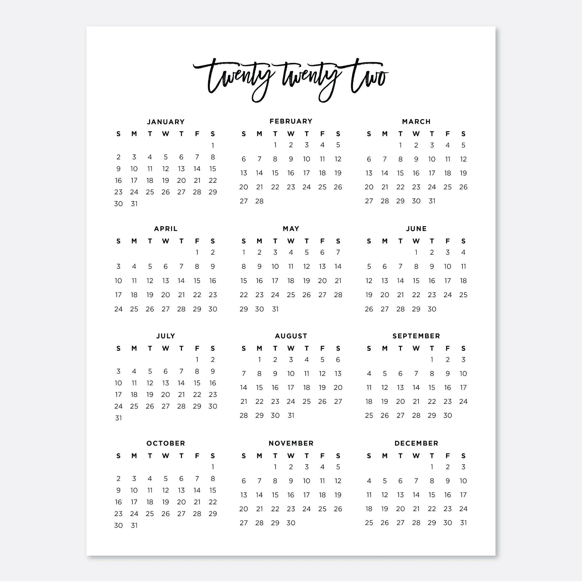 Cute 2022 Calendar.2022 Printable Calendar Digital Download Calendar Planner 2022 8 5x11