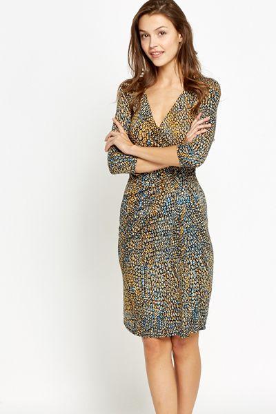 Multi Mock Croc Print Wrap Dress