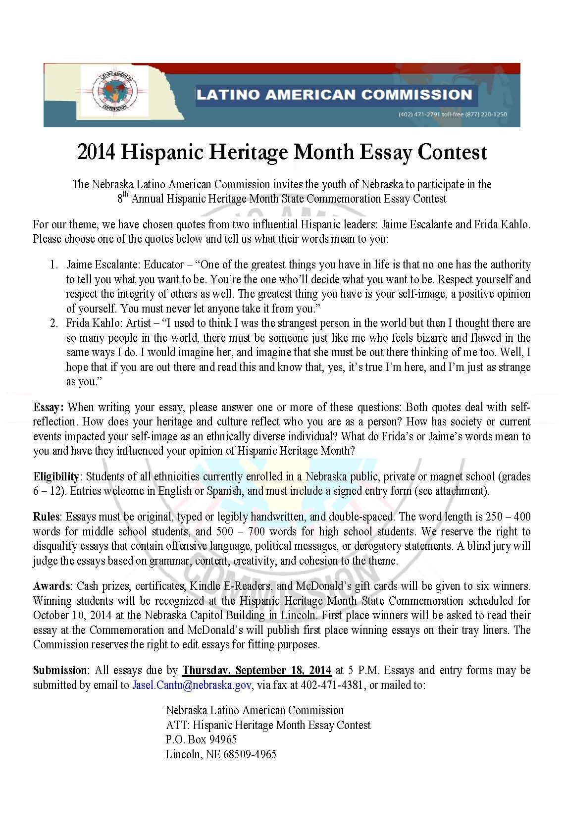 Fountainhead Essay  Hispanic Heritage Month Essay Contest Guidelines Open To All Students  In Nebraska The Bell Jar Essay also Economics Essay  Hispanic Heritage Month Essay Contest Guidelines Open To All  Macbeth Essay Topic
