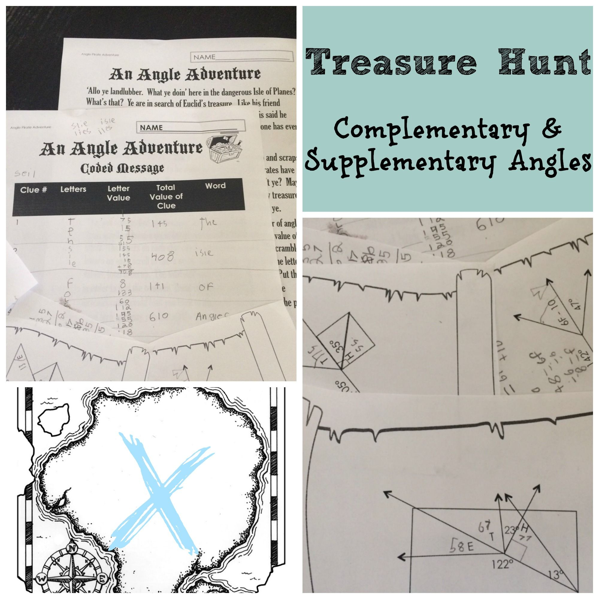Complementary And Supplementary Angles Activity Treasure