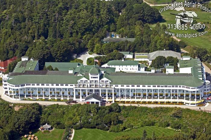 Aerial View Of The Grand Hotel On Mackinac Island Mi Photo By Aerialpics