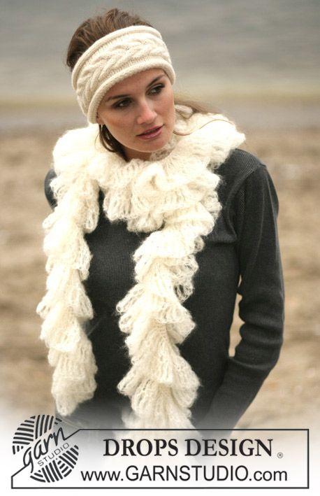 Bufanda DROPS con borde de calados y banda de pelo con patrón de ...