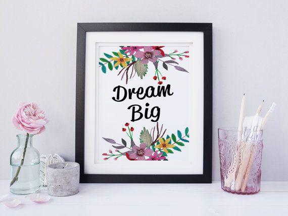 Dream Big Printable Watercolor Wall Art by SoulStudioPrints