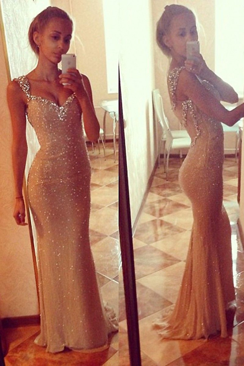 Sexy Open Back Long Prom Dresses V Neck Chiffon Sequins Party Gowns
