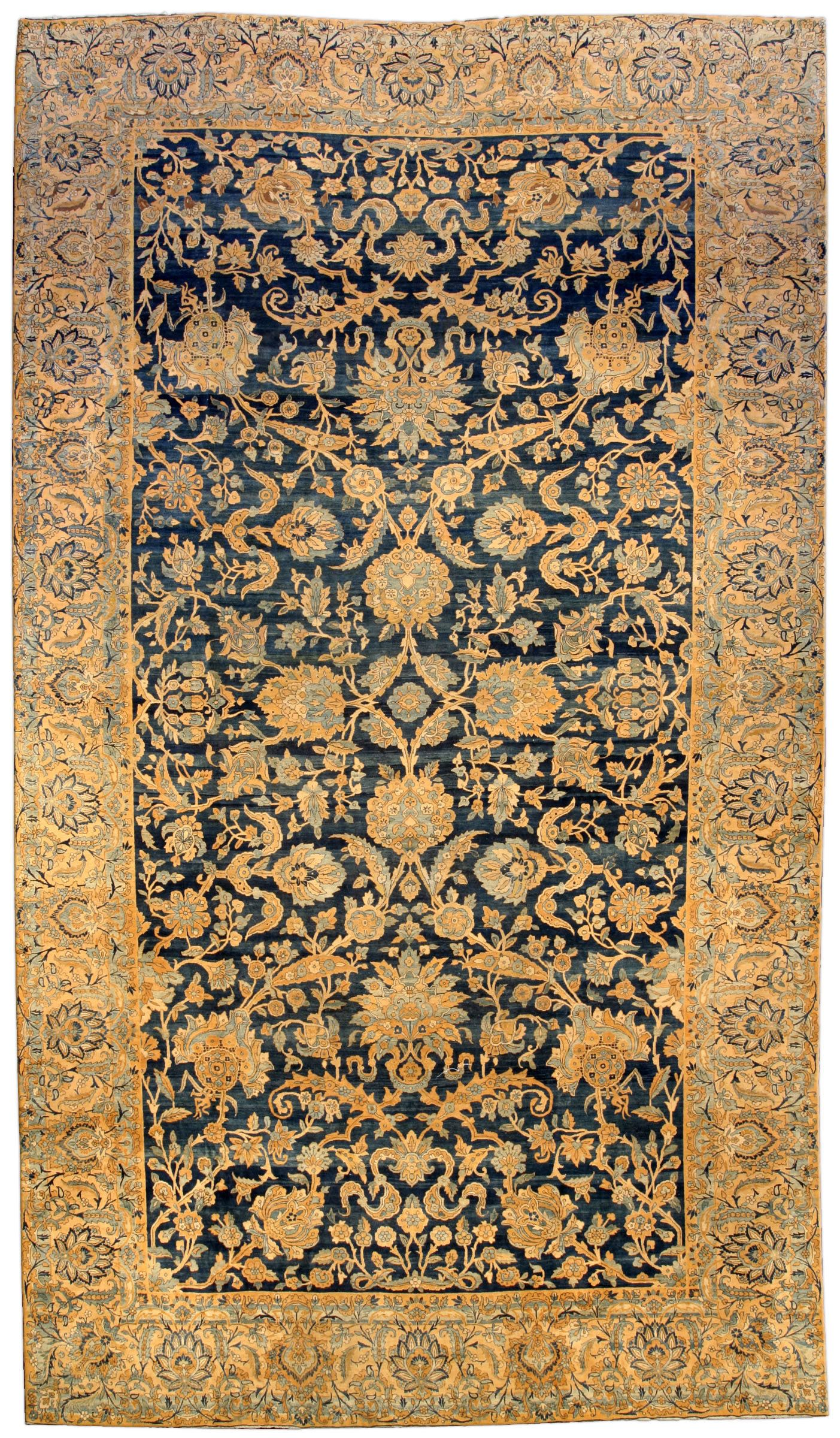 An Early 20th Century Persian Kirman Kerman Antique Rug The Striated Midnight Blue Field With A Palmette And Leafy Vin Persian Rug Designs Rugs Antique Rugs