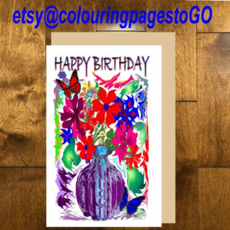 Printable Happy Birthday Card, Happy Birthday Red Flower ...