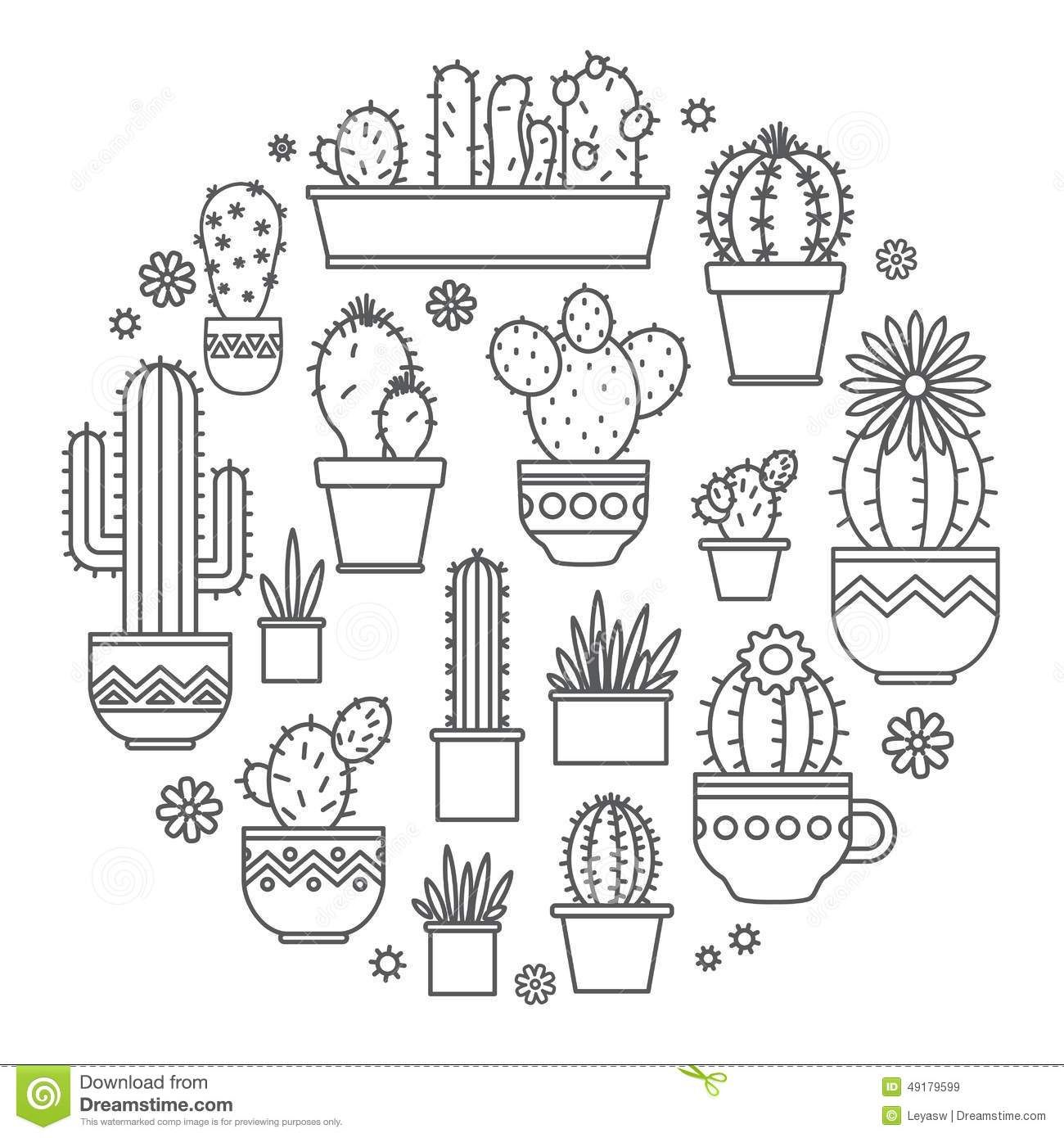 Linear design, potted cactus. elements of a corporate logo. Vector ...