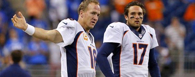 Denver Broncos quarterbacks Peyton Manning and Brock Osweiler. (Rick Osentoski/AP)