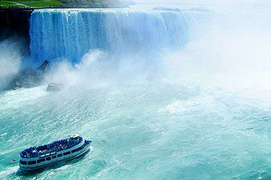Maid of the Mist5920 River Rd at Clifton Hill,, Niagara Falls, NYYou'll need the supplied plastic poncho for this ferry boat excursion deep into the wild waters right beneath the Falls -- no matter where you stand on the ships, you're going to get drenched. But it's worth it for the amazing views of Niagara Falls the boat allows