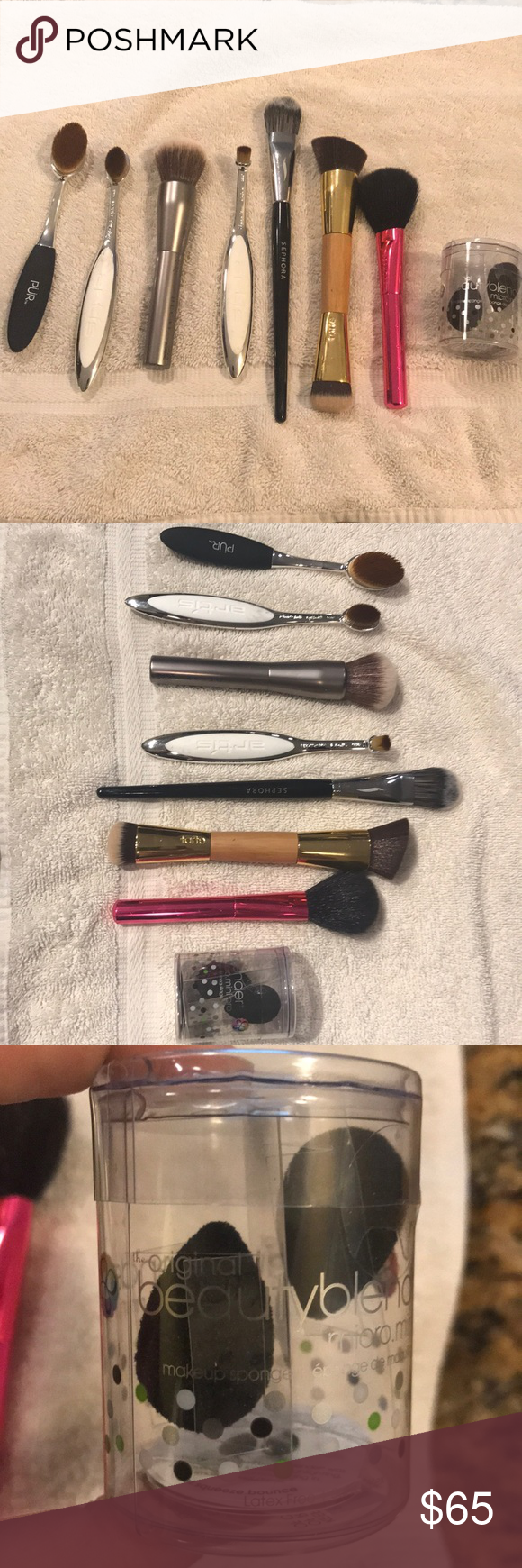 Photo of Gently used luxury makeup brush collection! Everything except the micro beauty b…