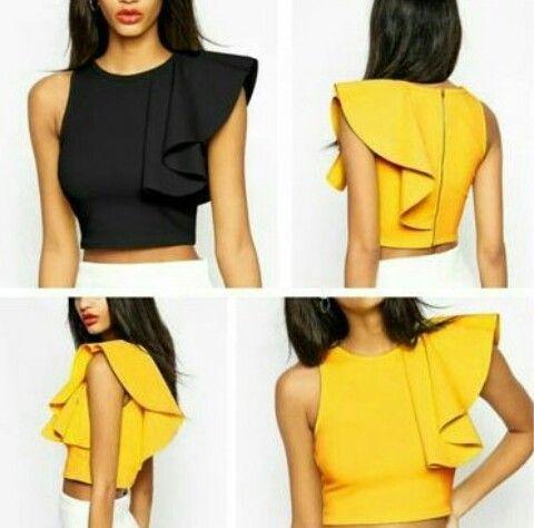 disponibilidad en el reino unido 6baee 0aab2 Volante en blusas crop top | Clothes in 2019 | Fashion ...