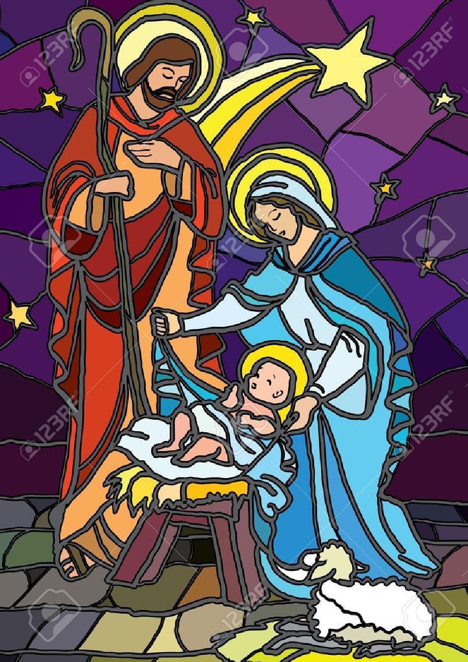 stock vector  glasmalerei weihnachten geburt christi und