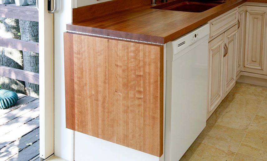 American Cherry Wood Countertop With Drop Leaf In Oakland California Not The Wood Type Just The Hi Kitchen Countertops Cherry Cabinets Kitchen Kitchen Remodel