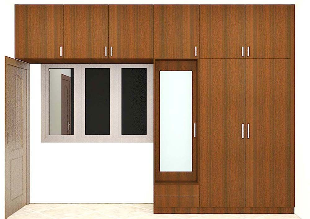 Modular 3 Door Wardrobe With Dresser And Mirror Made Up Of Plywood Laminate Finish The Dark Wood Color Product Gives An Astonishing Look