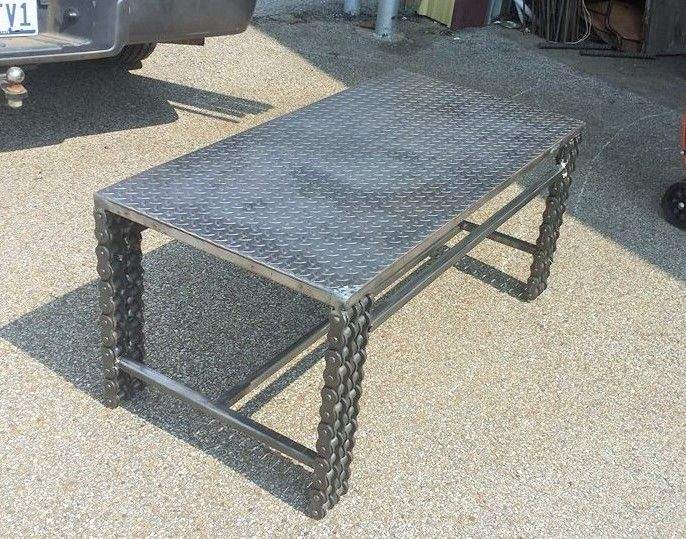 Welded Metlal Chain Coffee Table Furniture By Recycled Salvage