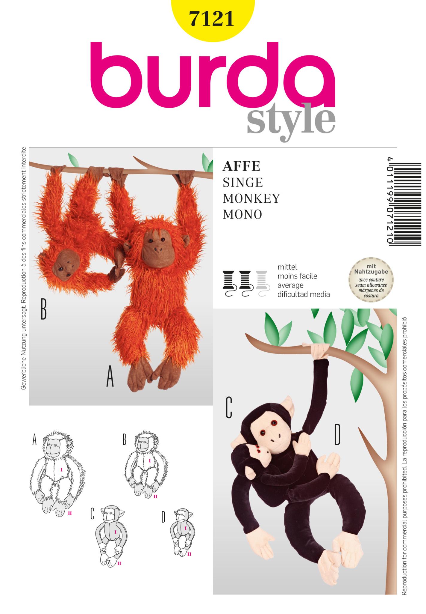 Burda pattern bd7121 stuffed monkey jaycotts sewing burda pattern bd7121 stuffed monkey jaycotts sewing supplies jeuxipadfo Choice Image