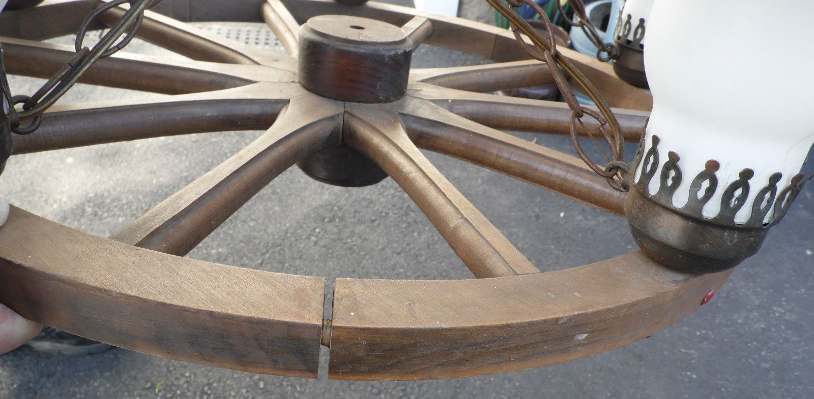 Metal Wood 5 Shade Light Wagon 24 Wheel Hanging Lamp Chandelier 24