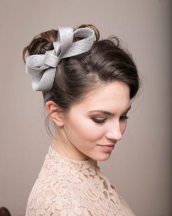 Silver bow headpiece wedding millinery fascinator - Hochzeit haarschmuck ...