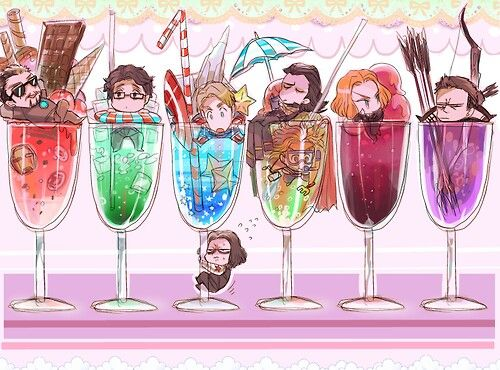 The Avengers And Their Respective Drinks... Bucky, Though