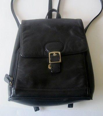 Aurielle Leather Handbag Black Backpack Purse Long Adjule Straps Buckle