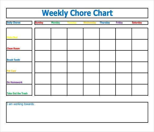 Example Of Fillable Weekly Chore Chart  How To Make Good Schedule
