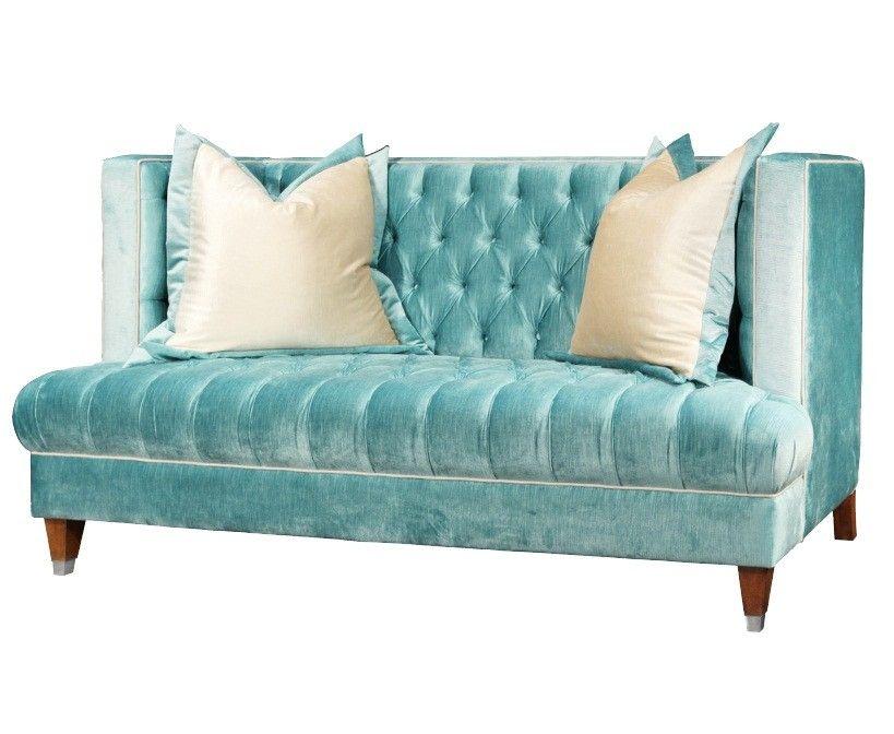 Tufted Sofas Blue Fabric High Back Sofa