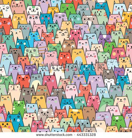 Seamless vector pattern with plenty of cute colorful cats