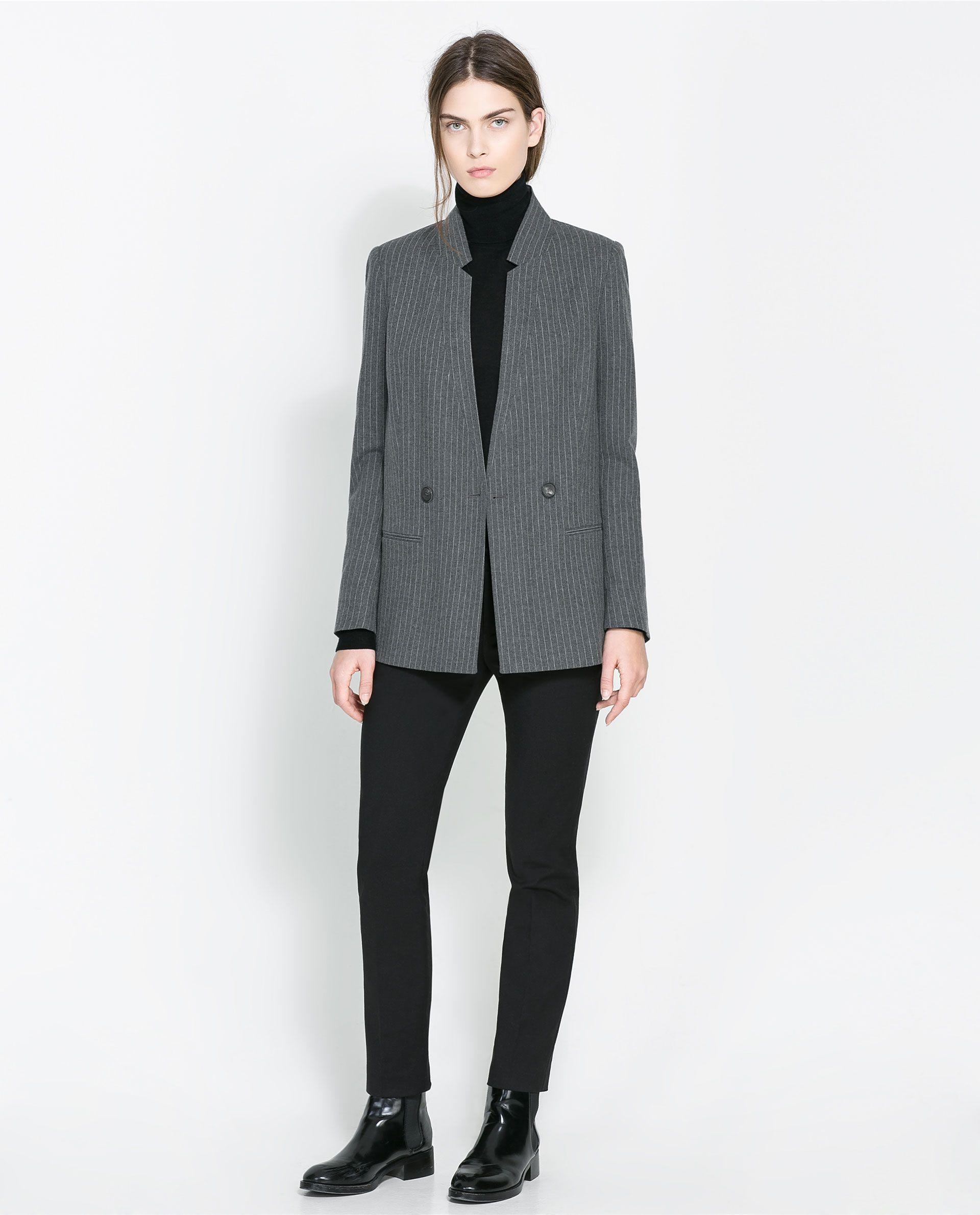 b4b0359392c04 Zara Long Pinstripe Blazer in Gray (Mid-grey) | Lyst | Fashion ...