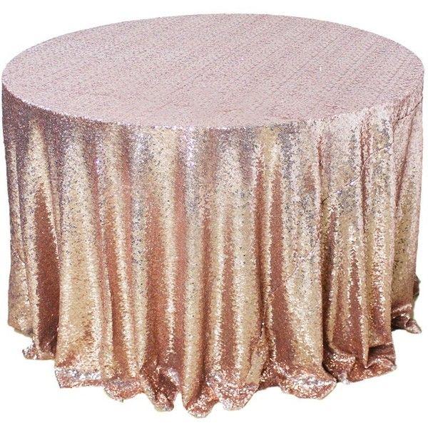 Amazlinen Sparkly Rose Gold Round Sequin Tablecloth 108 Round