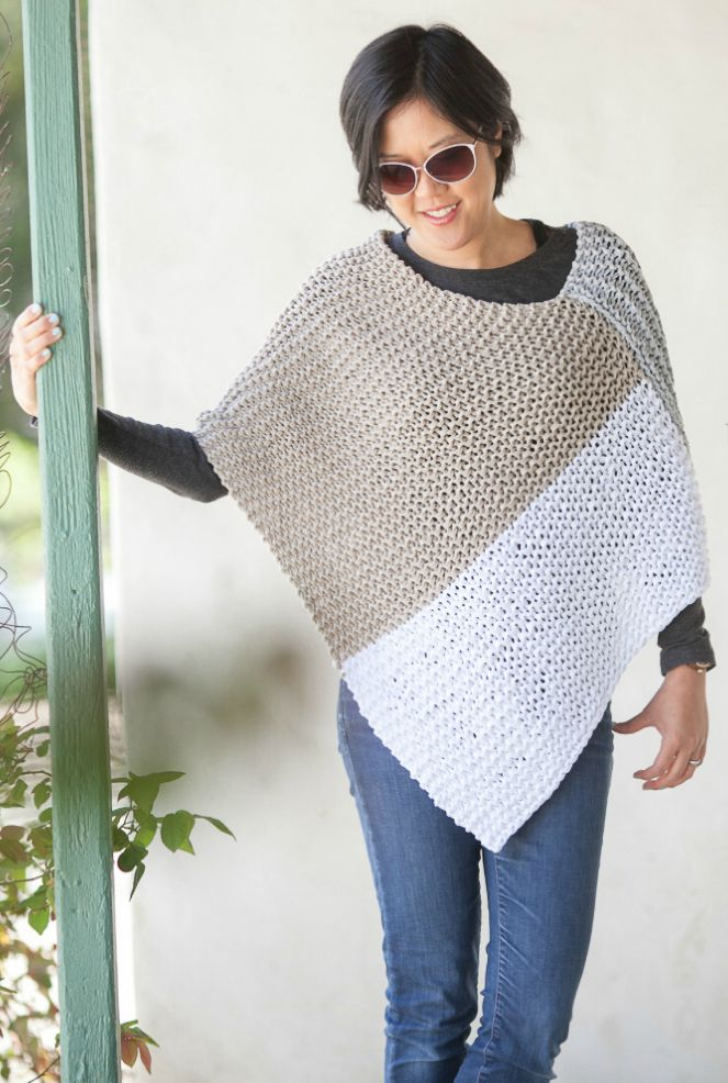 Free Knitting Pattern For Easy Catalunya Colorblock Poncho Easy