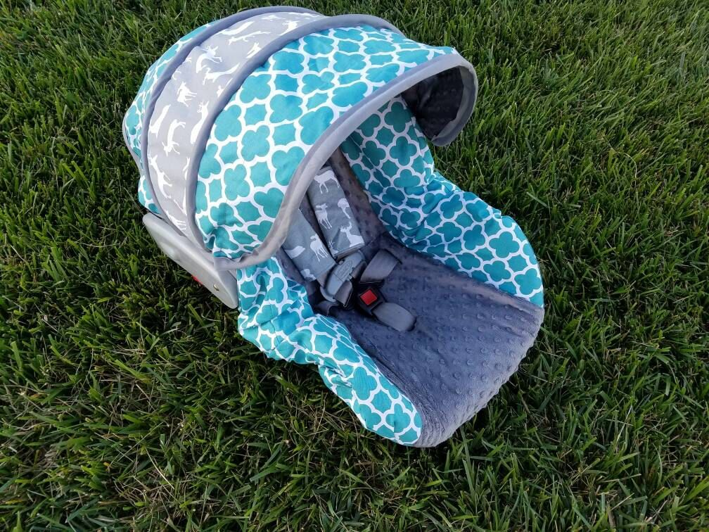 Teal Quatrefoil deer accents and gray minky infant car seat cover - by Baby Seat Covers By Jill - always free strap covers -Custom Order by BABYCOVERS2010 on Etsy https://www.etsy.com/listing/385468134/teal-quatrefoil-deer-accents-and-gray
