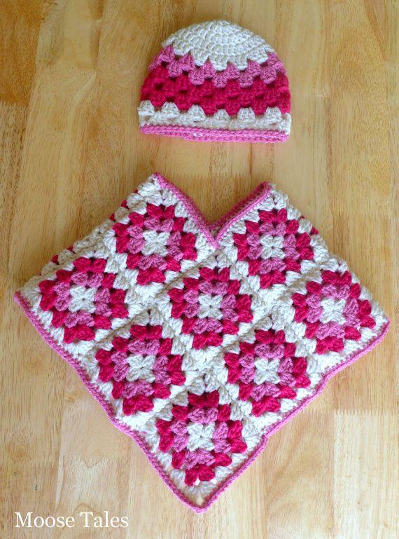 Crochet bebé Poncho sombrero de Set 6 meses bebé por xMooseTalesx ...