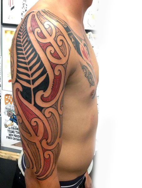 08fa558da Cool Maori Tattoo Design Ideas For Men Half Sleeve With Red And Black Ink