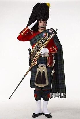 Drum Major Ian McGibbon of the Lorne Scots Regiment. (Canada) The Lorne's wear the tartan of Campbell of Argyll