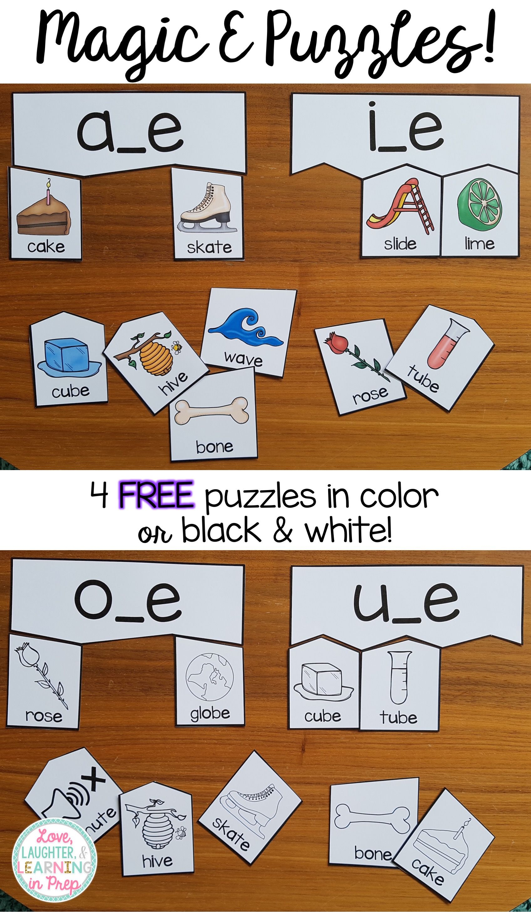 small resolution of FREE Magic E Puzzles! Hands on phonics fun for little learners.   Magic e
