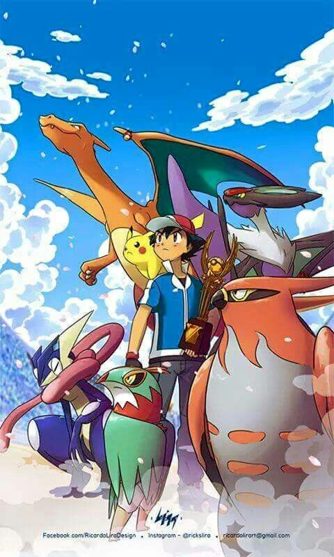 Ash Ketchum, Pikachu and Charizard with their Kalos Pokémon Team ^.^ ♡ I give good credit to whoever made this