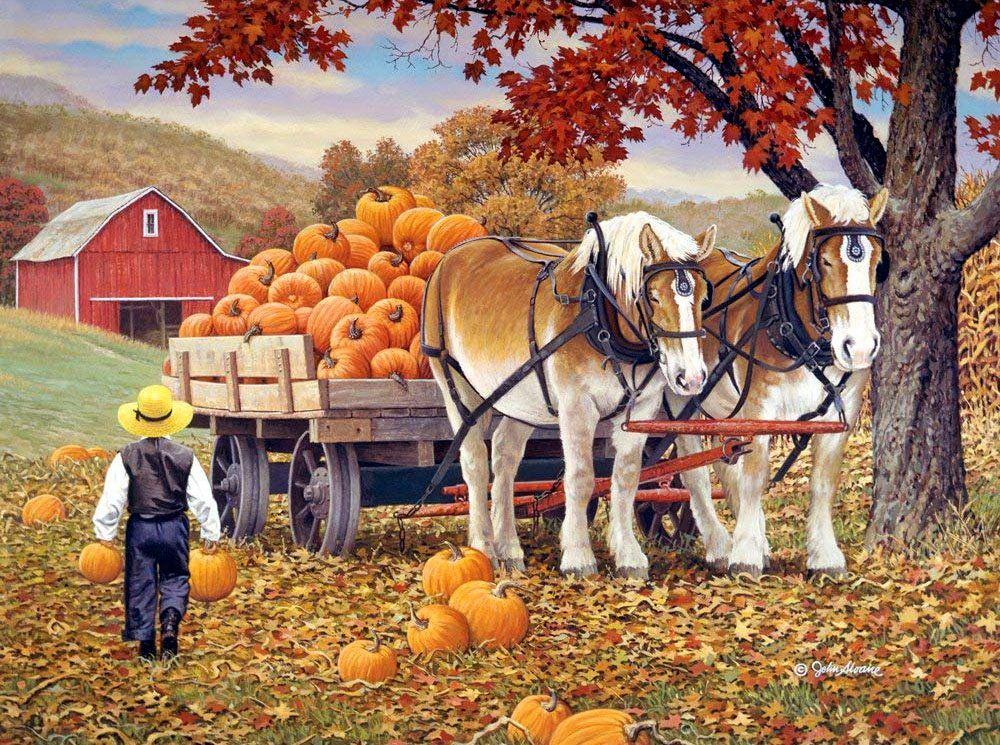 картинки осень люди собирают урожай